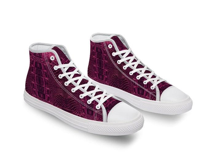 Pink Crocodile Canvas High Top Shoes for Men Women