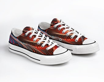 Colorful Abstract Design Unisex  Sneakers Fashion Low Top Lace up Canvas Sneaker Casual Shoes