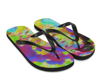 Colorful Solarisation Flip Flops Printed Thongs Shoes