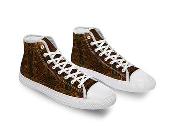 Brown Crocodile Comfortable Canvas High Top Shoes for Men Women