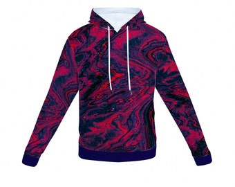Blue and Pink Hoodie Hooded Sweatshirt with Pockets