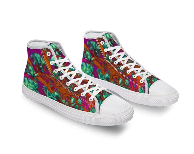 Floral Canvas High Top Shoes for Men Women