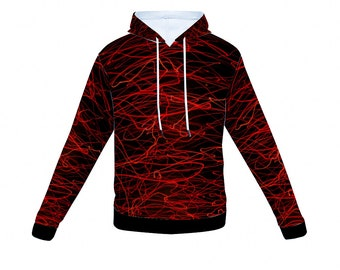 Black and Red Hoodie Hooded Sweatshirt with Pockets