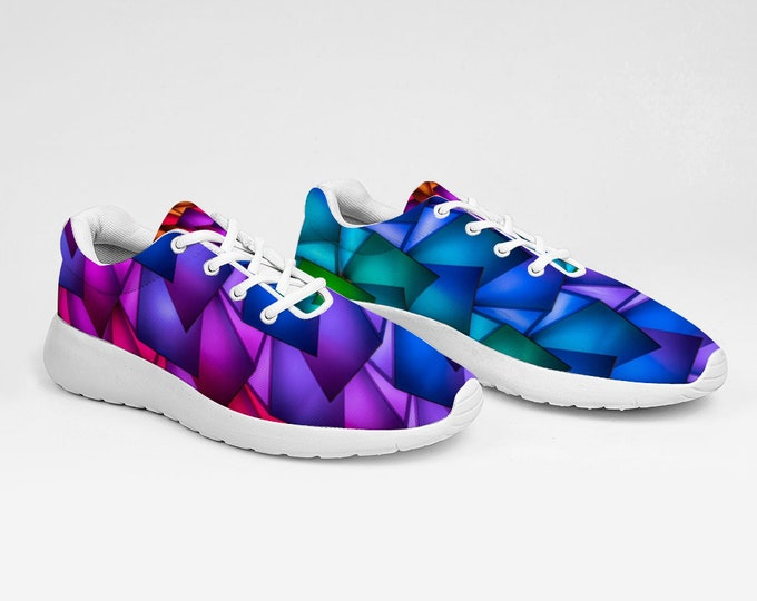 Blue Pink Geometrical Design Breathable Sneakers Ultra Lightweight Running Shoes