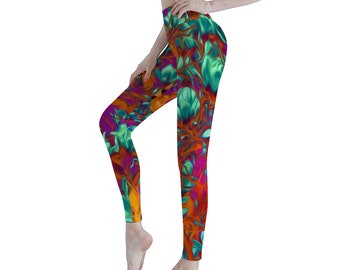 Flowers Women's Sports Yoga Leggings Athletic Pants Classic Fit Printed Leggings Workout Gym