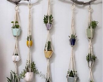 Single, Double and Triple Tier Macrame Plant Hangers I Pots I Herbs I Fruit I Boho House Decor I Entryway I Natural I Woven I Knots
