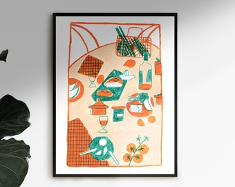 Poster illustration still life - pink orange turquoise
