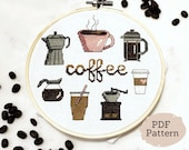 Cross-Stitch Pattern - Coffee Sampler - Downloadable PDF