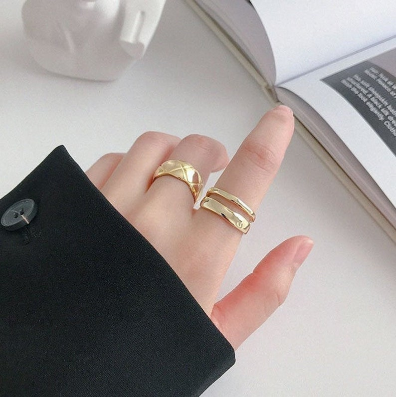Silver or Gold Open Ring Double Layer Boho Geometric Minimalist Elegant Thick Bold Ring Solid Chunky Stackable Mother Day Gift