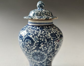 Hand-painted blue and white porcelain vase