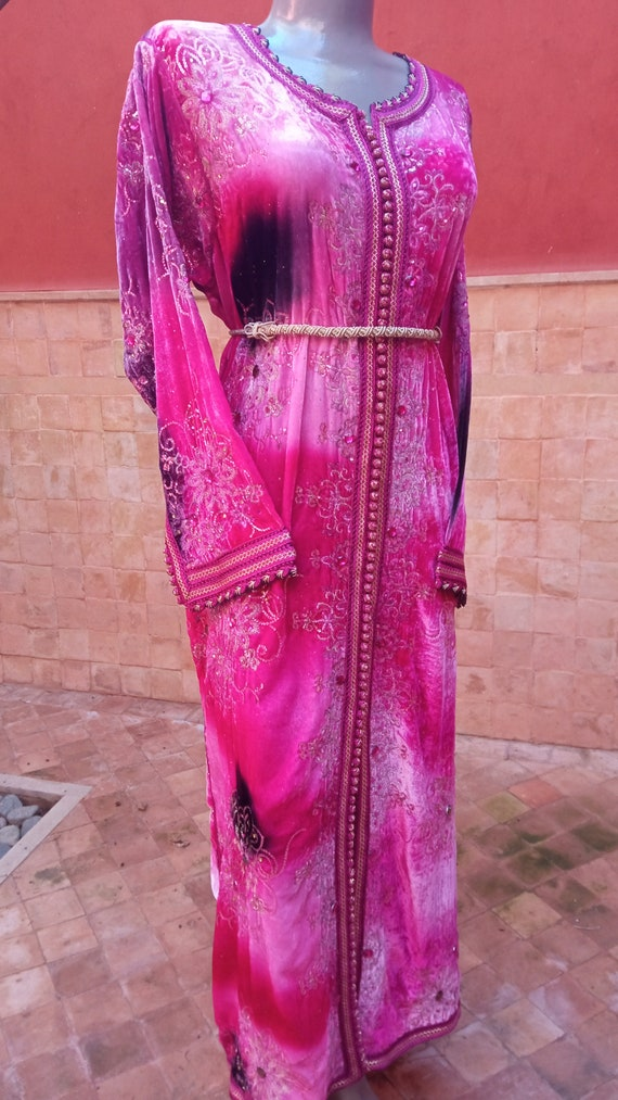 Vintage Pink dress women, Moroccan Pink Caftan, ve