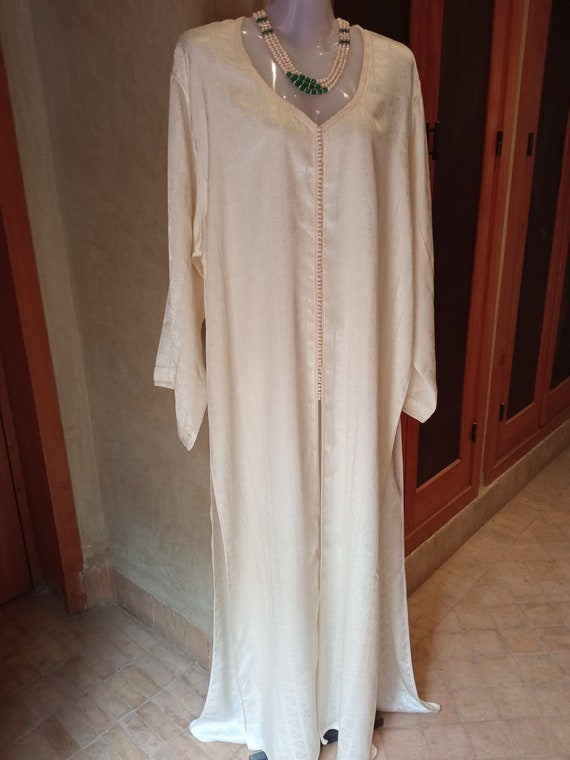 Vintage white dress, 1990s dress, moroccan embroid