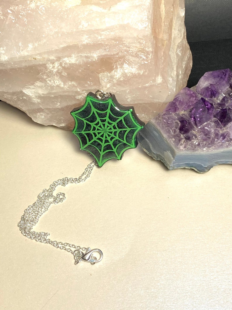 Black and Green Spooky Spider Web Necklace