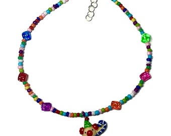 cheerful clown colorful beaded necklace