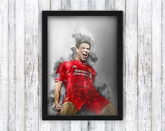 Steven Gerrard - Liverpool FC - Champions League / Football / Jurgen Klopp / Anfield / Mohamed Salah / Wall Art - Framed / A4 / A3