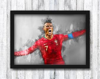 Cristiano Ronaldo - Juventus / Real Madrid / Portugal - Football / Messi / Neymar / Mbappe / Santiago Bernabéu / Wall Art - Framed / A4 / A3