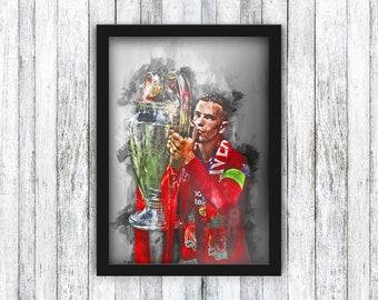 Jordan Henderson - Liverpool FC - Champions League / Football / Gerrard / Anfield / Memorabilia / Wall Art - Framed / A4 / A3