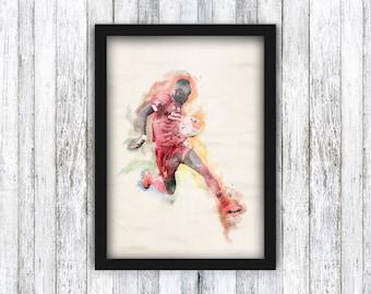 Framed A4 Print - Sadio Mane Watercolour - Liverpool FC - Football / Klopp / Anfield Memorabilia / Wall Art
