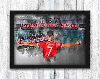 Cristiano Ronaldo - Manchester United - Old Trafford / Man Utd / Alex Ferguson / CR7 / Rashford / Cantona - Wall Art - Framed / A4 / A3