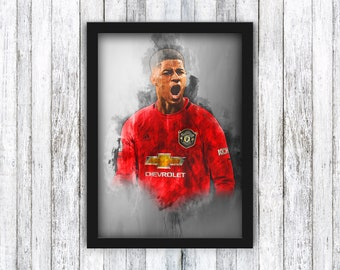 Marcus Rashford - Manchester United - Premier League / David Beckham / Alex Ferguson / Ronaldo / Old Trafford / Wall Art - Framed / A4 / A3