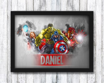 Avengers Personalised Print - Marvel - Thor / Hulk / Captain America / Iron Man / Superhero / Kids / Boy / Girl - Framed / A4 / A3