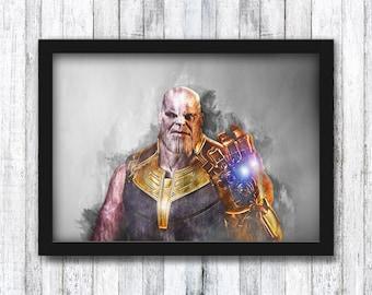 Thanos - Marvel - The Mad Titan / Avengers / Thor / Black Widow / Captain America / Iron Man / Wall Art - Framed / A4 / A3