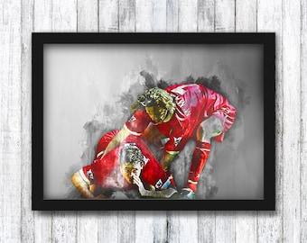 Robbie Fowler - Infamous Celebration - Liverpool FC - Premier League / Steve McManaman / Klopp / Anfield / Wall Art - Framed / A4 / A3