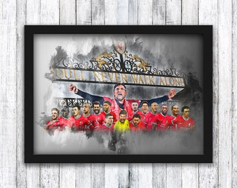 Liverpool FC Squad - Shankly Gates - You'll Never Walk Alone - Anfield - Klopp / Salah / Henderson / Mane  - Wall Art - Framed / A4 / A3
