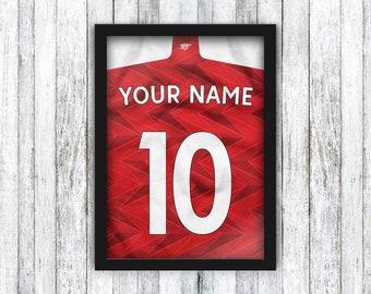 Custom Football Shirt Print - Arsenal FC - Your Name & Number - Football Shirt / Lacazette / Aubameyang / Emirates - Framed / A4 / A3