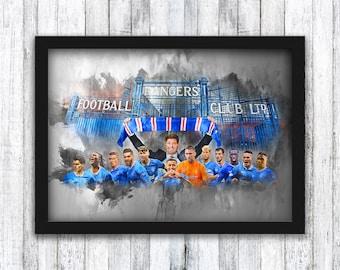 Rangers - Champions 55 - 20/21 - Ibrox Gates - Scottish Premier League / Steven Gerrard / Ryan Kent / Morelos - Wall Art - Framed / A4 / A3