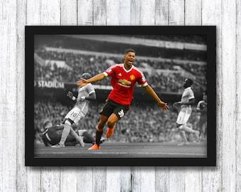 Marcus Rashford VS Manchester City - Manchester United - Premier League / Bruno Fernandes / Old Trafford / Wall Art - Framed / A4 / A3