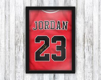 Michael Jordan Jersey Print - Air Jordan - Basketball / NBA / Chicago Bulls - Wall Art / Poster - Framed / A4 / A3