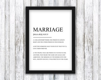 Marriage Definition Print - Dictionary / Quote - Typography - Bride / Groom - Wall Art / Poster - Framed / A4 / A3