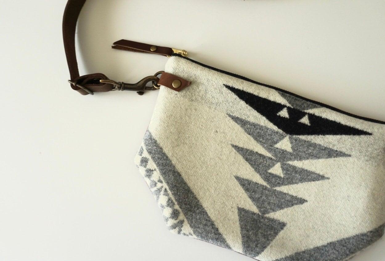 Convertible crossbody bag made of Pendleton Wool & waxed canvas, Southwestern clutch, boho purse, fanny pack purse