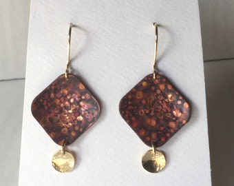 Red phantasy patterned Copper and Gold square dangling earrings. 14k Gold filled hammered discs and ear wires.