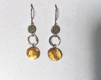 Artistic 24k Gold and Sterling Silver dangling earrings with Silver ear wires. 24k Gold fused to hammered Fine Silver discs (Keum Boo).