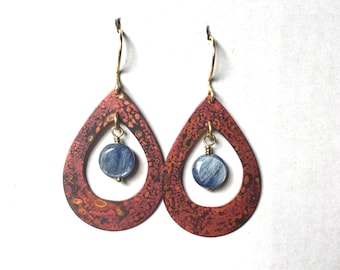 Unique teardrop shaped copper earrings with a reddish phantasy heat patina, with dangling sky blue Kyanite beads. 14k Gold filled ear wires.