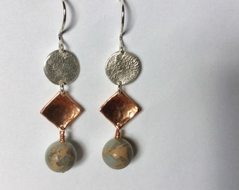 Silver and copper earrings with African opal (agate) beads, mixed metal earrings, dangling earrings, handcrafted