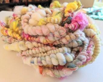 weaving yarn Denim /& Sunshine II corespun textured novelty yarn #117 Handspun Art Yarn bulky yarn