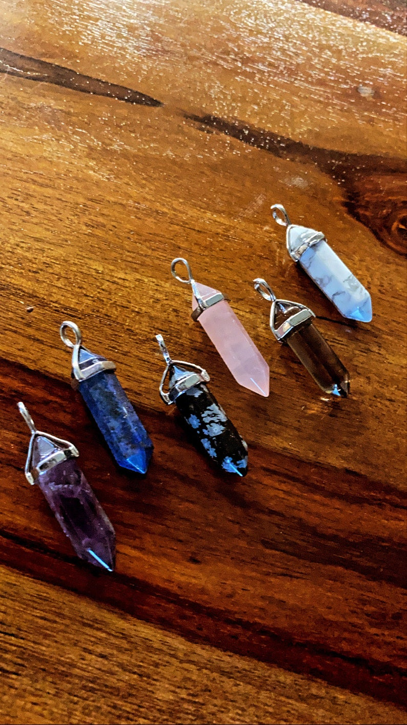 Obsedian Quartz Gift Rose Quartz Tiger Eye Lapis Lazuli Amethyst Crystal Point Necklace Pendent Natural Crystal Pendant,Stone Jewelry