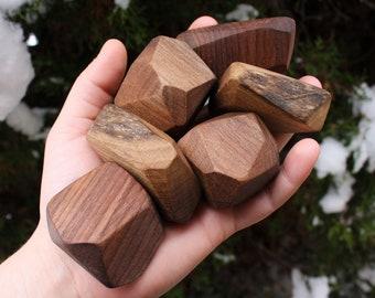 Walnut Stacking Stones set of 10 | Wood Rock Blocks | Balancing Gem Toy | Waldorf | Montessori