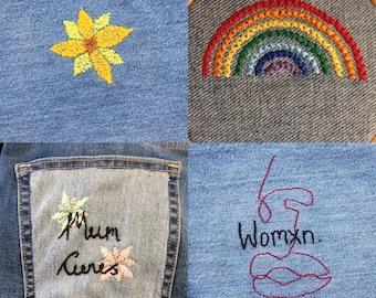 Embroidered Jean Pocket