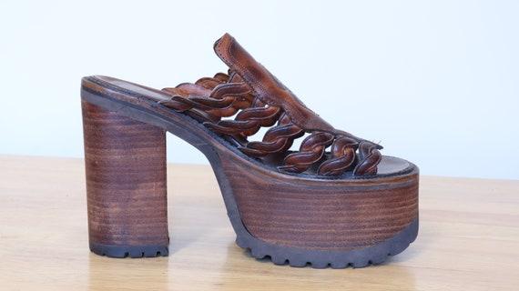 Rare 90s Buffalo Platform Brown Western Sandals UK
