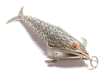 Antique Silver 14X17mm CM0656S Coral Reef Fish Wholesale Tropical Fish pendant beads BULK 40 Fish Charms