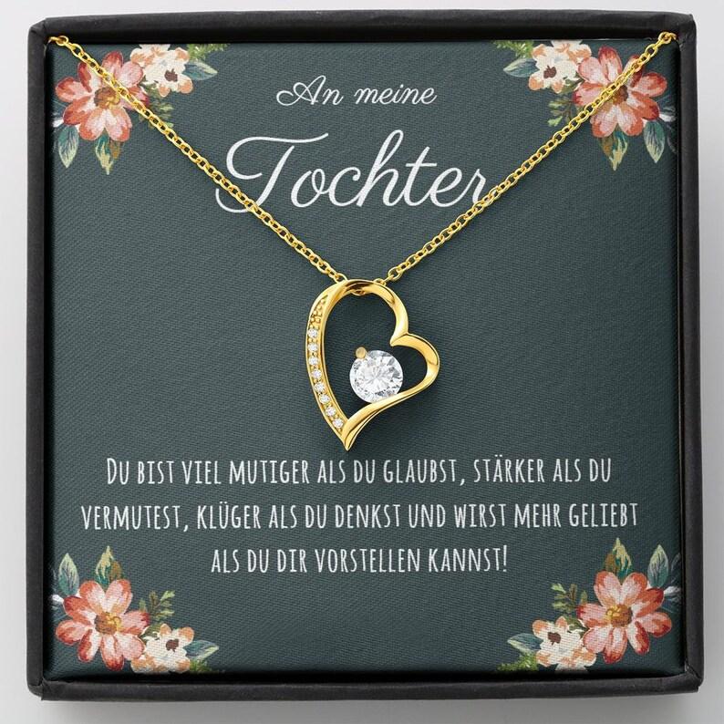 Geburtstagsgeschenk Tochter Konfirmation Tochter Funkelndes Herz Halskette Du bist mutiger als du glaubst Mutter Tochter Geschenk