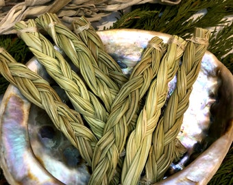 """Organic Sweetgrass Braid, Native Indian/ American Ceremonial Smudge (Mini 4"""" Crystal Charged Ritual Smudge Stick/Wand)"""