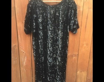 heavily beaded New Years Eve approx womens small medium Sweelo silk vintage 1980s sequin dress