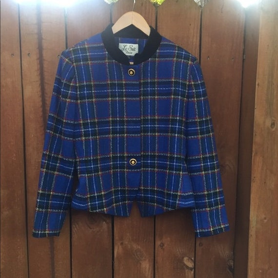 Vintage 90's Blazer Plaid Blue Jacket Clueless Cro