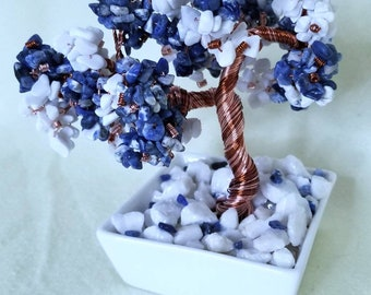 Genuine Sodalite and White Marble Crystal Bonsai Tree of Life  Copper Wire  Feng Shui  Third Eye Chakra