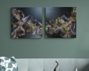 """Acrylic Diptych Dutch Pour Painting Fluid Art Each piece is 20"""" x 20 """" Beautiful Black with Iridescent colors and a Gloss Varnish Finish"""